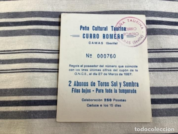Tauromaquia: PEÑA TAURINA CURRO ROMERO SORTEO 1987 - Foto 2 - 244514980