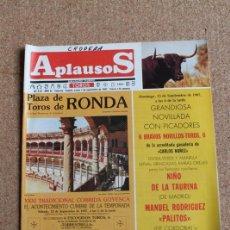 Tauromaquia: REVISTA APLAUSOS Nº 519. 7 SEPTIEMBRE 1987. PLAZA DE TOROS DE RONDA. Lote 244571600