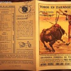 Tauromaquia: FOLLETO CORRIDA, PASCUA 10/4/55 ZARAGOZA ANTONIO ORDOÑEZ, JUMILLANO, GIRON. Lote 244955480