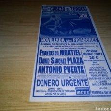 Tauromaquia: ANTIGUO PEQUEÑO CARTEL DE TOROS. PLAZA CABEZO DE TORRES (MURCIA). ANTONIO PUERTA, FRANCISCO MONTIEL. Lote 247476225