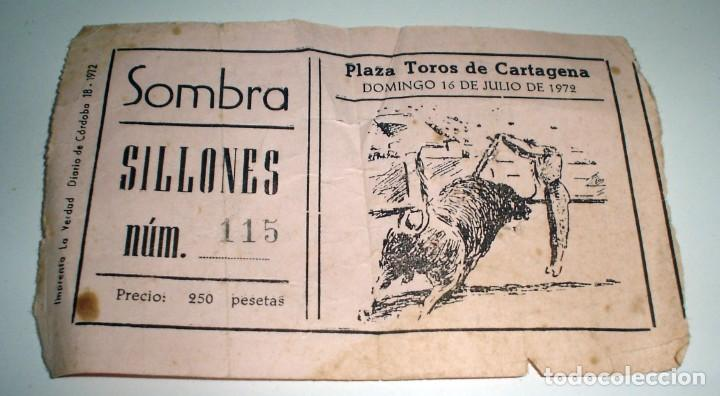 ANTIGUA ENTRADA CORRIDA DE TOROS CARTAGENA 1972 (Coleccionismo - Tauromaquia)