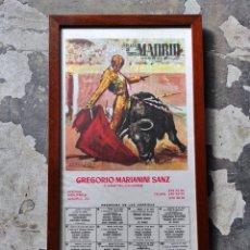 Tauromaquia: PLAZA DE TOROS DE MADRID. FIESTAS DE SAN ISIDRO 1972. CARTEL TAURINO. ENMARCADO 53X28. Lote 252504475