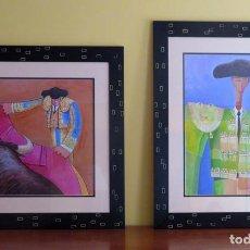 Tauromaquia: EL TATI Y EL BRUJO. ENMARCADOS. TOREROS MALETILLAS TOROS. OBRA ORIGINAL FIRMADA. Lote 257420500