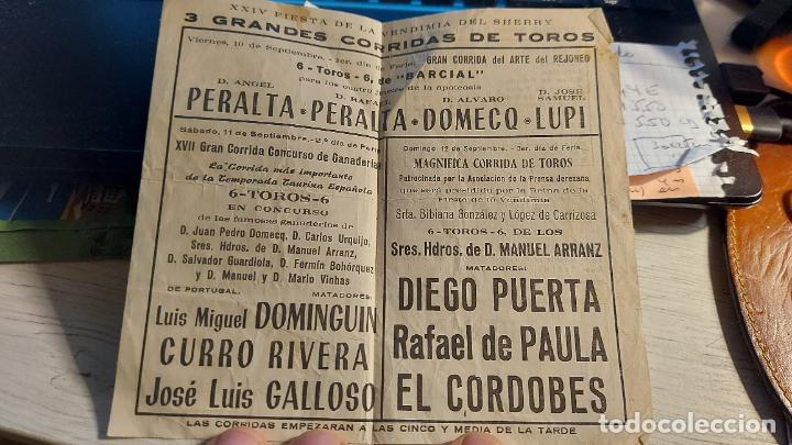 Tauromaquia: TOROS EN JEREZ FESTIVAL DE LA VENDIMIA 1971 CON GRANDES FIGURAS - Foto 3 - 258210215