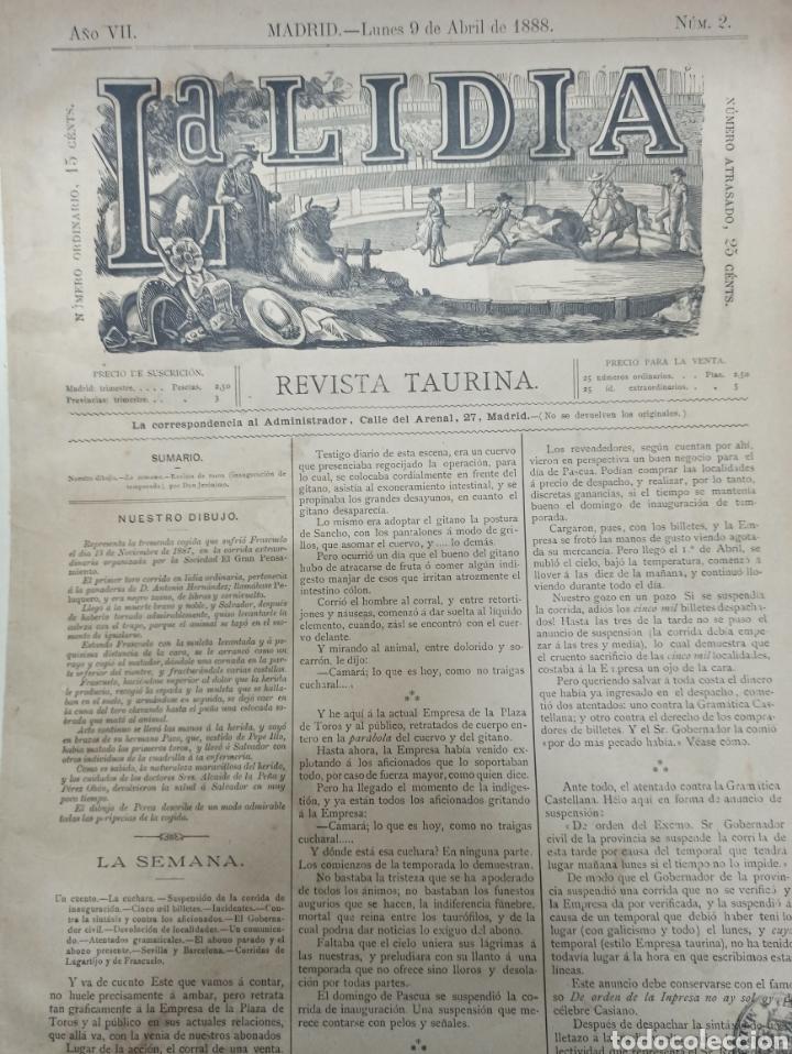 Tauromaquia: LA LIDIA, REVISTA TAURINA, COGIDA DE FRASCUELO EN MADRID, 9 ABRIL 1888 LITOGRAFIA EN COLOR ORIGINAL - Foto 2 - 260868230