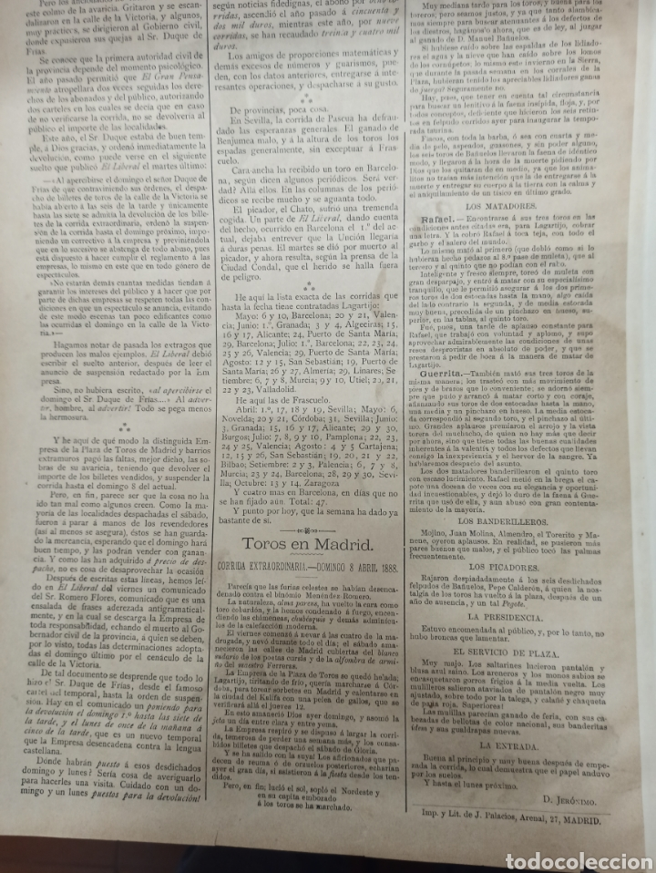 Tauromaquia: LA LIDIA, REVISTA TAURINA, COGIDA DE FRASCUELO EN MADRID, 9 ABRIL 1888 LITOGRAFIA EN COLOR ORIGINAL - Foto 3 - 260868230