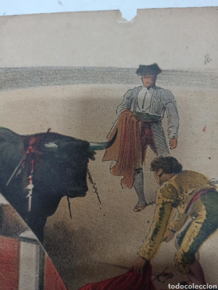 Tauromaquia: LA LIDIA, REVISTA TAURINA, COGIDA DE FRASCUELO EN MADRID, 9 ABRIL 1888 LITOGRAFIA EN COLOR ORIGINAL - Foto 4 - 260868230