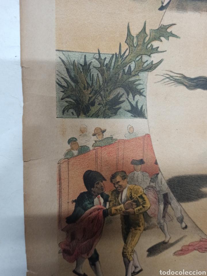 Tauromaquia: LA LIDIA, REVISTA TAURINA, COGIDA DE FRASCUELO EN MADRID, 9 ABRIL 1888 LITOGRAFIA EN COLOR ORIGINAL - Foto 6 - 260868230