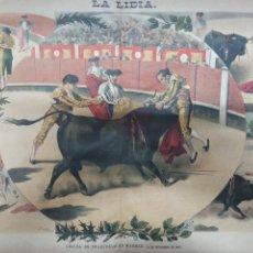 Tauromaquia: LA LIDIA, REVISTA TAURINA, COGIDA DE FRASCUELO EN MADRID, 9 ABRIL 1888 LITOGRAFIA EN COLOR ORIGINAL. Lote 260868230