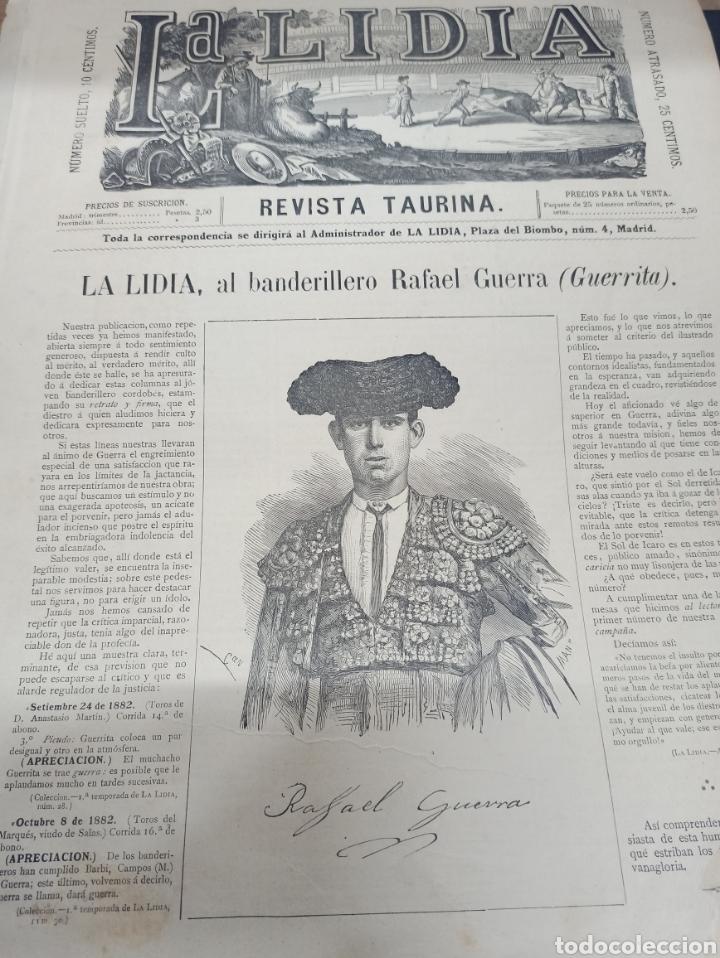 TOROS, REVISTA TAURINA LA LIDIA, NUM 17 EXTRAORDINARIO 1883, DEDICADO A RAFAEL GUERRA (GUERRITA). (Coleccionismo - Tauromaquia)