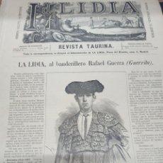 Tauromaquia: TOROS, REVISTA TAURINA LA LIDIA, NUM 17 EXTRAORDINARIO 1883, DEDICADO A RAFAEL GUERRA (GUERRITA).. Lote 261039325