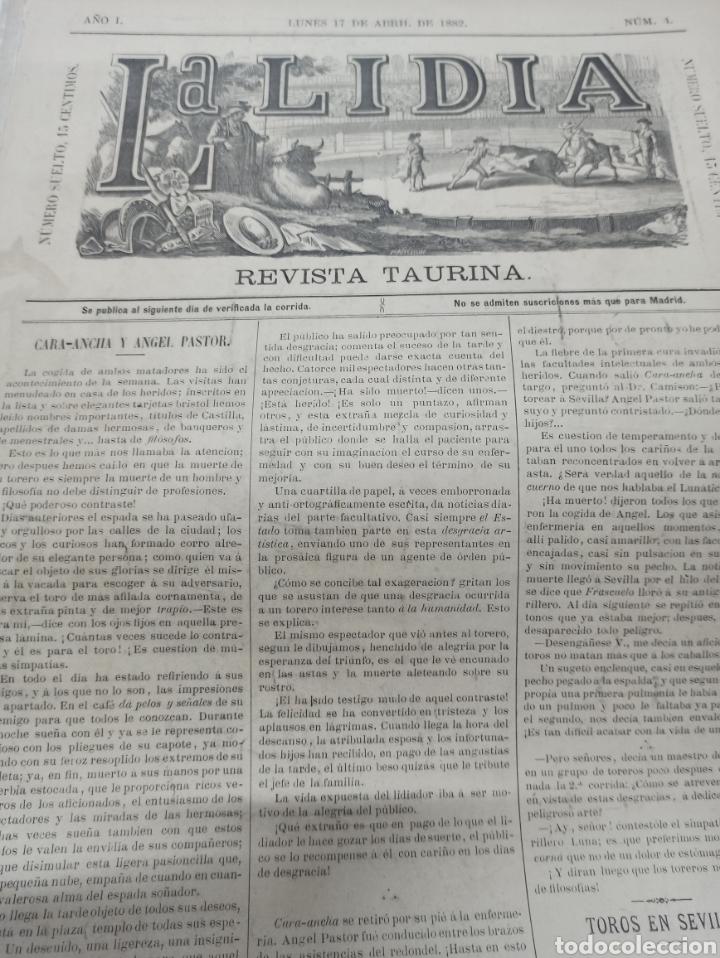 Tauromaquia: REVISTA LA LIDIA, 17 ABRIL 1882, PASEO DE LAS CUADRILLAS, LITOGRAFIA DE J. PALACIOS - Foto 3 - 261103125