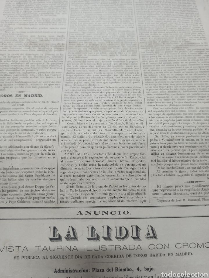 Tauromaquia: REVISTA LA LIDIA, 17 ABRIL 1882, PASEO DE LAS CUADRILLAS, LITOGRAFIA DE J. PALACIOS - Foto 4 - 261103125
