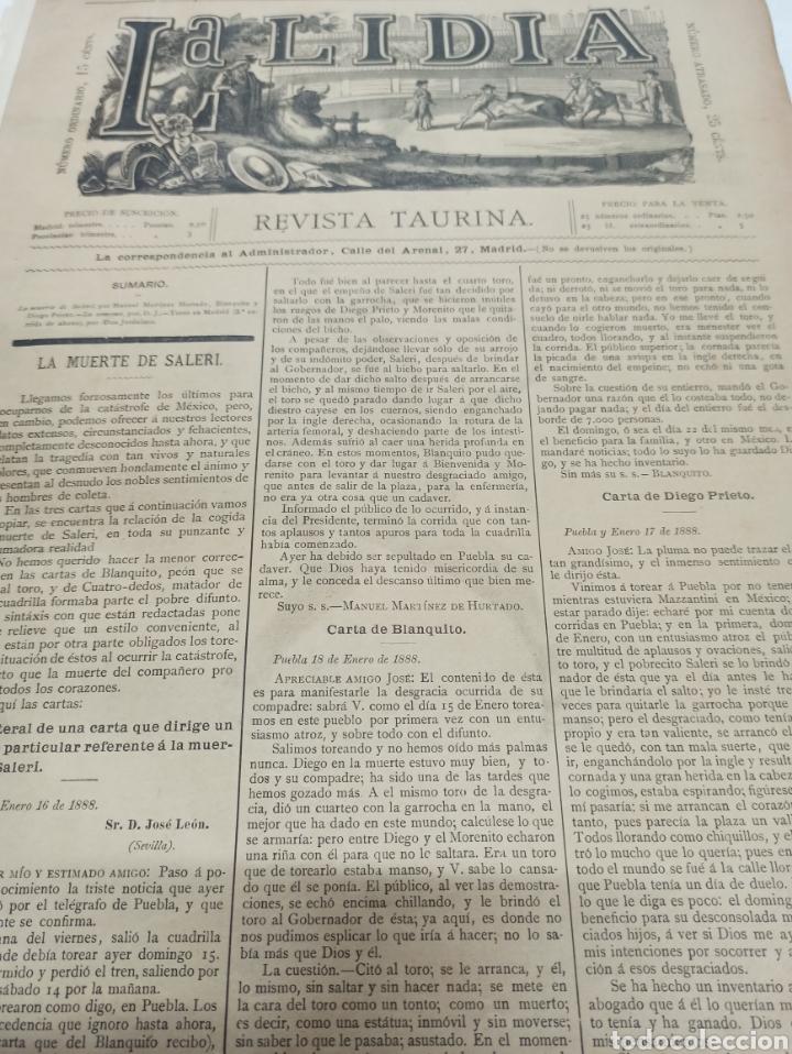 Tauromaquia: LA LIDIA, REVISTA TAURINA, 23 ABRIL 1888, COGIDA Y MUERTE DE SALERI EN MEXICO LIT. J. PALACIOS. - Foto 3 - 261107210