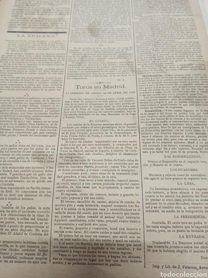 Tauromaquia: LA LIDIA, REVISTA TAURINA, 23 ABRIL 1888, COGIDA Y MUERTE DE SALERI EN MEXICO LIT. J. PALACIOS. - Foto 4 - 261107210