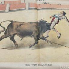 Tauromaquia: LA LIDIA, REVISTA TAURINA, 23 ABRIL 1888, COGIDA Y MUERTE DE SALERI EN MEXICO LIT. J. PALACIOS.. Lote 261107210