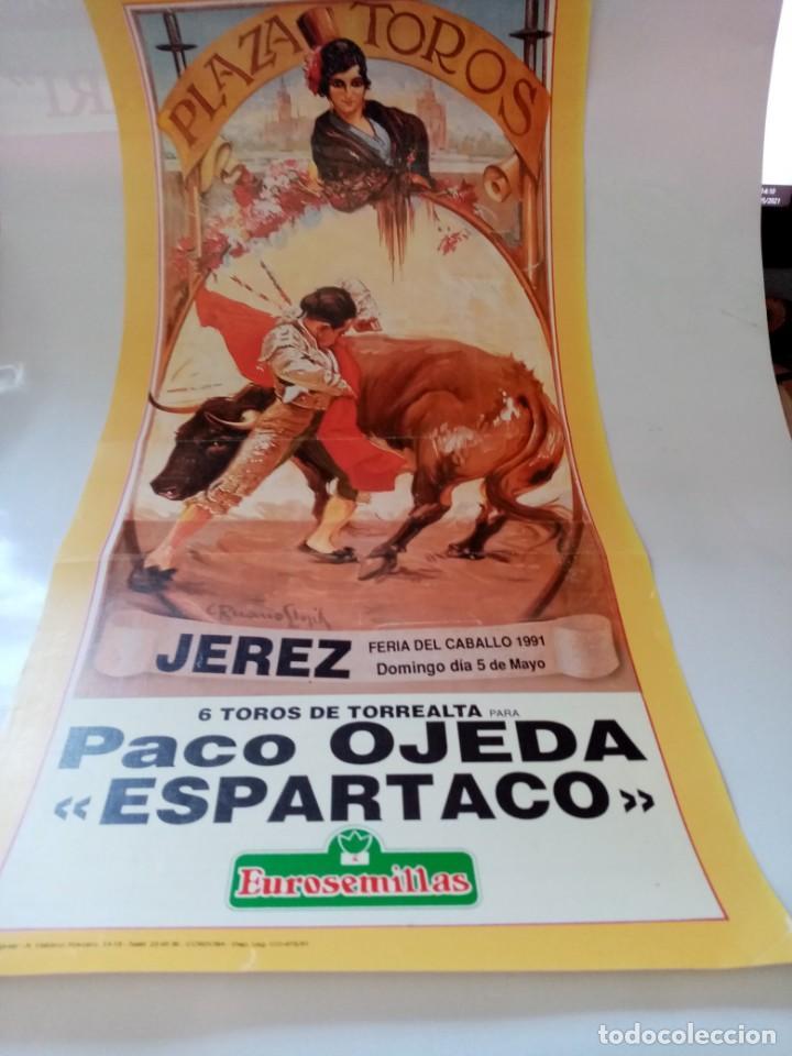 PLAZA DE TOROS DE JEREZ FERIA DEL CABALLO 1991 MANO A MANO OJEDA Y ESPARTACO MEDIDA21 X 43 (Coleccionismo - Tauromaquia)