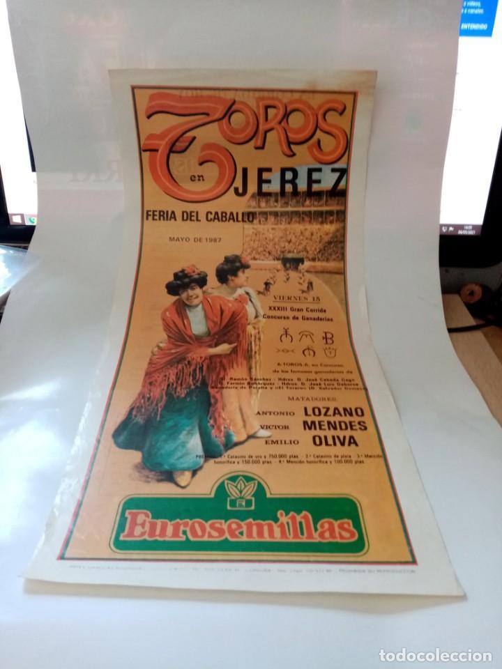 PLAZA DE TOROS DE JEREZ FERIA DEL CABALLO 1987 MEDIDA 21 X 43 (Coleccionismo - Tauromaquia)