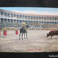 Tauromaquia: CORRIDA DE TOROS-CITANDO A LA PICA-POSTAL ANTIGUA-(80.567). Lote 262628580