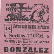 Tauromaquia: CARTEL (42X21) PLAZA DE TOROS DE SEVILLA. EXTRAORDINARIA NOVILLADA CON PICADORES. 14 JULIO 1974. Lote 262683350