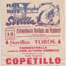 Tauromaquia: CARTEL (40X21) PLAZA DE TOROS DE SEVILLA. EXTRAORDINARIA NOVILLADA. 15 SEPTIEMBRE 1974. Lote 262683355