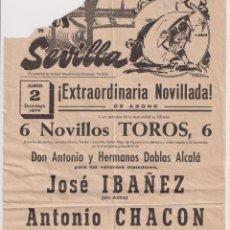 Tauromaquia: CARTEL (42X21) PLAZA DE TOROS DE SEVILLA. EXTRAORDINARIA NOVILLADA. 2 DE JUNIO DE 1974. Lote 262683370