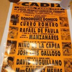 Tauromaquia: M-4 CARTEL DE TOROS 45X65 CM CADIZ CADIZ 1993.CURRO ROMERO NIÑO DE LA CAPEA MANZANARES ETC. Lote 265953333