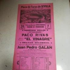 Tauromaquia: CARTEL DE TOROS. PLAZA SEVILLA. 1984. PACO RIVAS, EL VINAGRE, JUAN PEDRO GALÁN. Lote 266476493