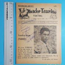 Tauromaquia: AUTOGRAFO Y DEDICATORIA DE FRANCISCO RIVERA PAQUIRRI EN POZOBLANCO 26.09.1984, VER DECRIPCION. Lote 268606439