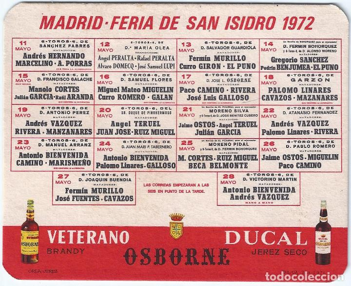 CALENDARIO FERIA DE SAN ISIDRO - OSBORNE - VETERANO (1972) (Coleccionismo - Tauromaquia)