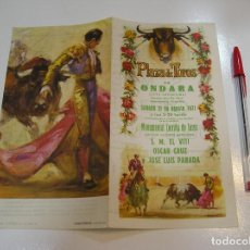 Tauromaquia: TOROS MUNDO TAURINO PLAZA DE TOROS DE ONDARA PROGRAMA CORRIDA 21 AGOSTO DE 1971. Lote 270199303