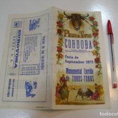 Tauromaquia: TOROS MUNDO TAURINO PLAZA DE TOROS DE CORDOBA PROGRAMA SEPTIEMBRE 1973. Lote 270199498