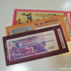 Tauromaquia: TOROS MUNDO TAURINO LOTE 3 ENTRADAS TOROS PLAZA DE TOROS DE ORIHUELA AÑO 82 83. Lote 270204078