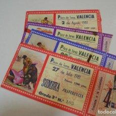 Tauromaquia: TOROS MUNDO TAURINO LOTE 5 ENTRADAS TOROS PLAZA DE TOROS DE VALENCIA FERIA DE JULIO 1981. Lote 270204428