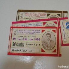 Tauromaquia: TOROS MUNDO TAURINO LOTE ENTRADAS TOROS PLAZA DE TOROS DE VALENCIA FERIA DE JULIO 1986. Lote 270204593