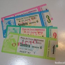 Tauromaquia: TOROS MUNDO TAURINO LOTE 4 ENTRADAS TOROS PLAZA DE TOROS DE GRANADA 1983 1984. Lote 270219753