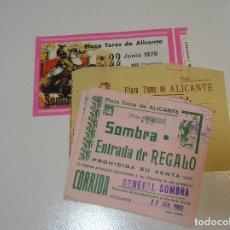 Tauromaquia: TOROS MUNDO TAURINO LOTE 5 ENTRADAS TOROS PLAZA DE TOROS DE ALICANTE 1979 1982. Lote 270219983