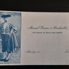 Tauromaquia: ANTIGUA TARJETA MATADOR DE TOROS BARBERILLO 1912. Lote 270361388