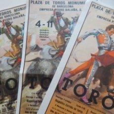 Tauromaquia: 3 / PLAZA DE TOROS MONUMENTAL DE BARCELONA 1981 / JUAN JOSÉ - MANUEL MALDONADO - VICTOR MENDES - .... Lote 273157733
