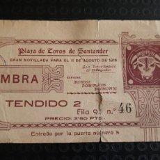 Tauromaquia: ENTRADA PLAZA DE TOROS SANTADER 1918 MENDEZ, DOMINGUIN Y BELMONTE. Lote 277174048
