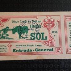 Tauromaquia: ENTRADA PLAZA TOROS DE MALAGA 1915 VAZQUEZ, BELMONTE Y LARITA. Lote 277174948