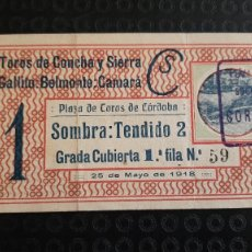 Tauromaquia: ENTRADA PLAZA DE TOROS DE CORDOBA 1918 GALLITO, BELMONTE Y CAMARA. Lote 277175603