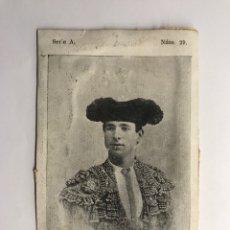 Tauromaquia: TOREROS, DOMINGO DEL CAMPO. DOMINGUIN, SERIE A, NO.29, CROMO POSTAL, (H.1900?). Lote 278533148