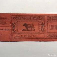 Tauromaquia: TAUROMAQUIA ALICANTE, ENTRADA PLAZA DE TOROS. SILLA DE RELLANO (H.1900?) MEDIDAS: 14,5 X 6 CM.,. Lote 278534298