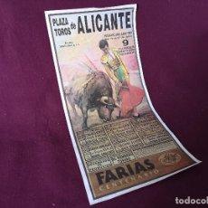 Tauromachie: CARTEL DE TOROS 74 X 36 CMS., PLAZA DE TOROS DE ALICANTE, 1993, LIT. ORTEGA. Lote 286927943