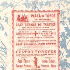 Tauromachie: CARTEL EN FINO PAPEL PLAZA DE TOROS DE BARCELONA 1897 GRAN CORRIDA DE TOROS A BENEFICIO CRUZ ROJA. Lote 287127348