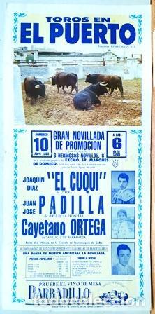 CARTEL - TOROS EN EL PUERTO GRAN NOVILLADA DE PROMOCION 10 DE ABRIL DE 1988 - CARTELTOROS-0190 (Coleccionismo - Tauromaquia)
