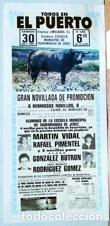 CARTEL - TOROS EN EL PUERTO GRAN NOVILLADA DE PROMOCION 30 DE ABRIL DE 1988 - CARTELTOROS-0191 (Coleccionismo - Tauromaquia)