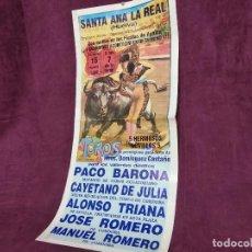 Tauromachie: CARTEL DE TOROS, SANTA ANA LA REAL, 1990, UNOS 70 X 32 CMS.. Lote 287732853