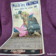 Tauromachie: CARTEL DE TOROS, VALENCIA, 1991, UNOS 106 X 54 CMS.. Lote 287734758